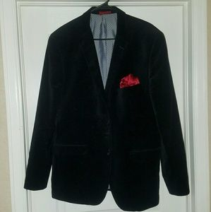 Black Dinner coat with red pocket square.